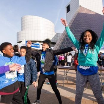 Group of children at the Rock Hall for Walk Rock Run